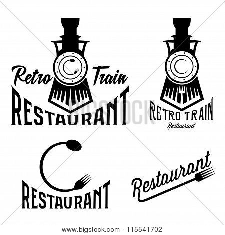Vintage Set Of Retro Train Restaurant