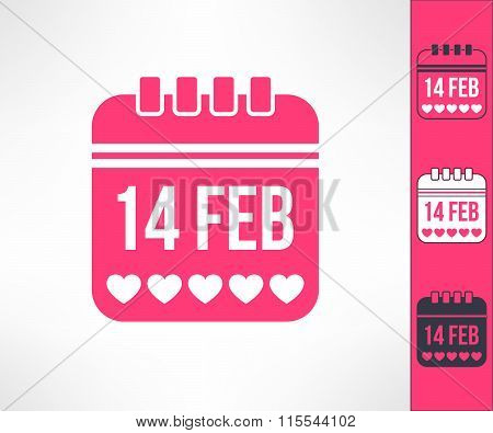 Set of vector valentines calendar reminder symbols with hearts. Love and romance design element
