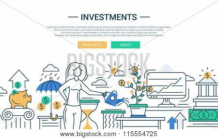 Investments line flat design banner with female managing finance