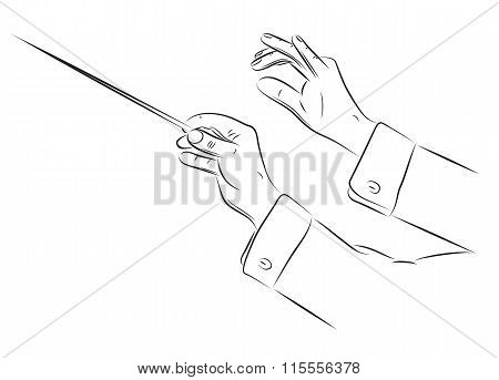Hands Of Conductor Illustration