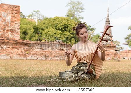 Thai lady in vintage original thailand attire and fiddle poster
