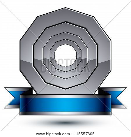 Vector Glorious Glossy Design Element, Luxury 3D Conceptual Complicated Graphic Round Template With