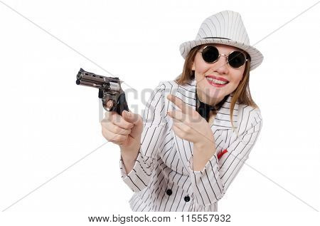 Beautiful girl holding hand gun isolated on white
