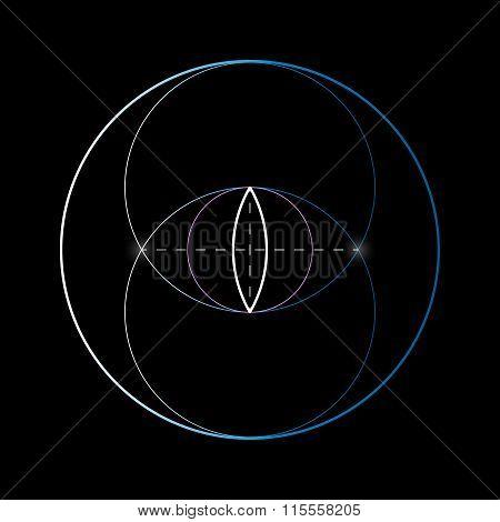 Vesica Piscis. Sacred Geometry Vector Element.