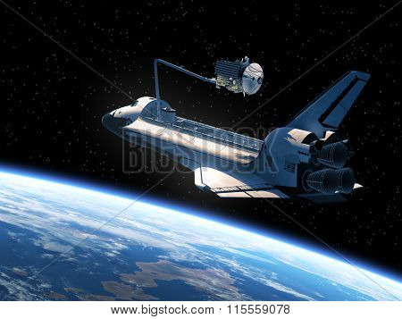 Space Shuttle Deploying Satellite