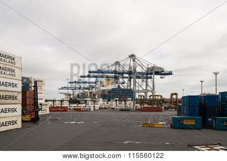 AUCKLAND, NZL -JAN 13 2016:Big cargo ship unloading containers in Ports of Auckland New Zealand. New Zealand's busiest port and the third largest container terminal in Australasia.