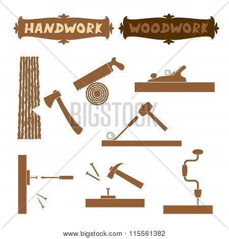 Vector illustration wood work hand tools silhouette set with shown working process and sign boards w