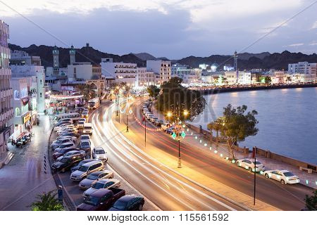 Corniche In Muttrah At Night. Muscat, Oman