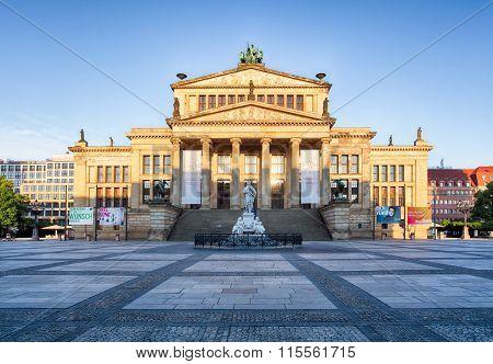 Gendarmenmarkt In Berlin, Germany. View On German Cathedral And Konzerthaus