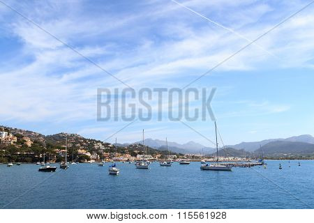 Marina Port d'Andratx and Mediterranean Sea in Majorca Spain