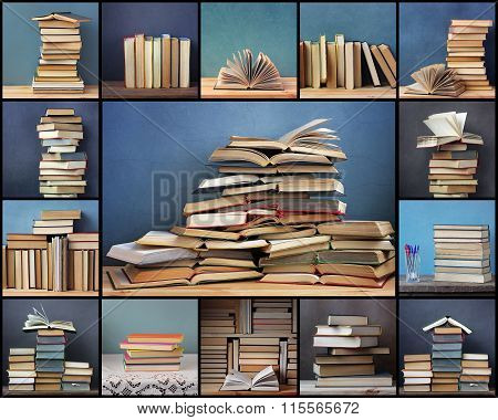 Collage From Pictures With Books On A Blue Background