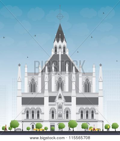 Library of Parliament, Ottawa, Ontario, Canada. Vector illustration. Business Travel and Tourism Concept with Historic Building. Image for Presentation Banner Placard and Web Site.