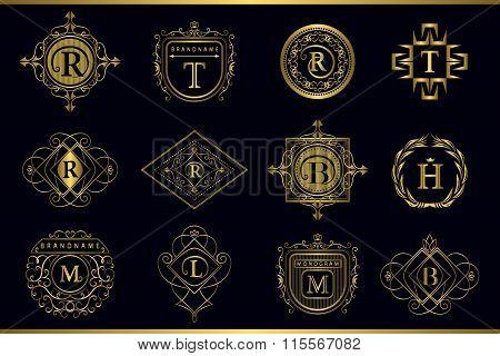 Vector Monogram Design Elements, Graceful Template. Calligraphic Elegant Line Art Logo Design. Gold
