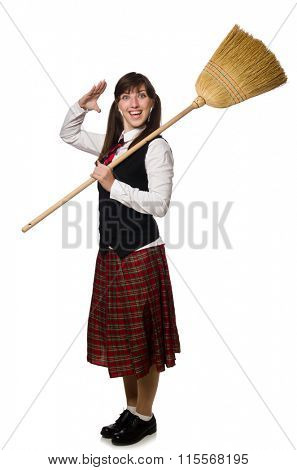 Funny girl with broom isolated on white poster