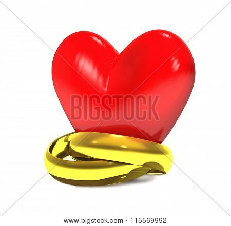 Gold Wedding Rings And Red Heart.