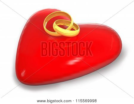 Gold Wedding Rings Are On A Red Heart..