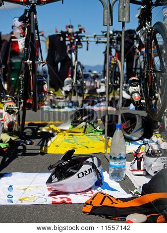 Transition area in ironman event.