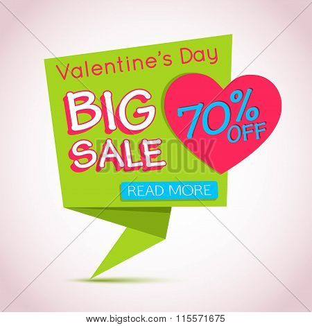 Happy Valentines Day Sale Banner. Valentines Day Background. Paper Banner. Origami Heart Template.