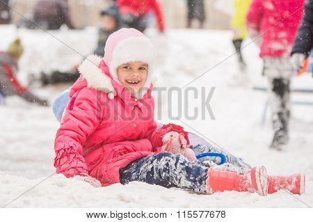 Joyful Seven-year Child Rolled Down A Hill