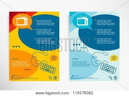 Retro Televisor Symbol On Abstract Vector Modern Flyer, Brochure Vector Template.