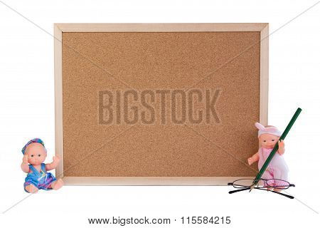 Board On White Background And Dolls