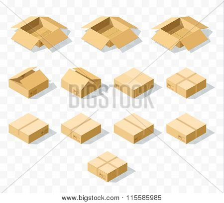 Set of 12 realistic isometric cardboard boxes with transparent shadow