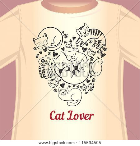 Stylish print with cats in the form of heart for the fan of cats