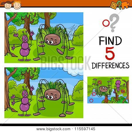 Cartoon Illustration of Finding Differences Educational Task for Preschool Children with Ant and Spider Insect Characters poster