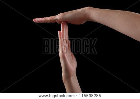 Pause Or Break Time Hand Gesture, Shot On Black