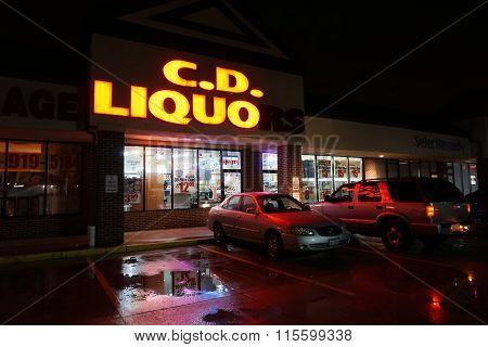 C.D. Liquors at Night