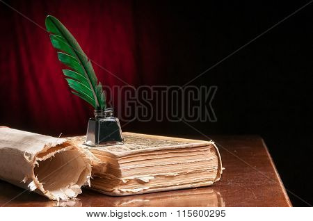 Green quill pen and a rolled papyrus sheet poster