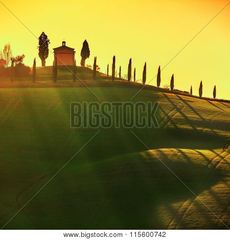 Tuscany Landscape, Little Chapel And Trees Backlight Italy