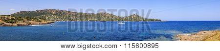 Agay Bay Panorama In Esterel Rocks Beach Coast And Sea. Cote Azur, Provence, France.