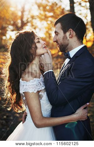 Fairytale romantic valentyne newlywed couple hugging and posing under old castle bridge at sunset in autumn closeup poster