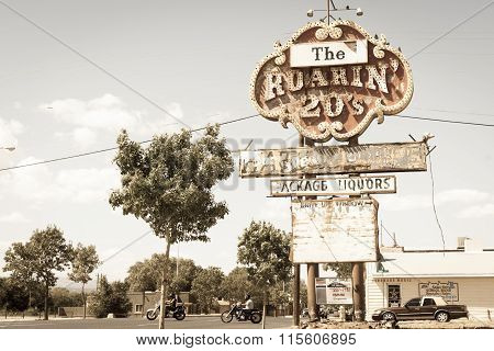 Historic Route 66, Grants, Nm Vintage Roaring 20S Liquor Store Sign. New Mexico, Usa.