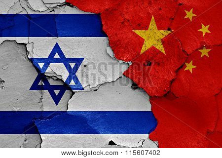 Flags Of Israel And China Painted On Cracked Wall