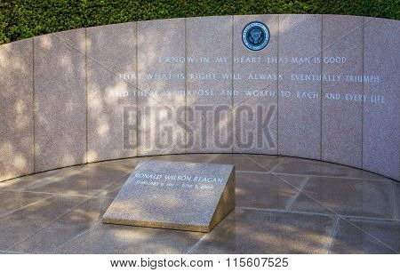 Ronald Reagan Headstone At Reagan Library
