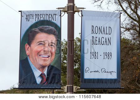 Ronald Reagan Banner At Reagan Library