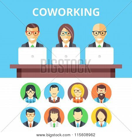 Coworking flat illustration and flat avatar icons set