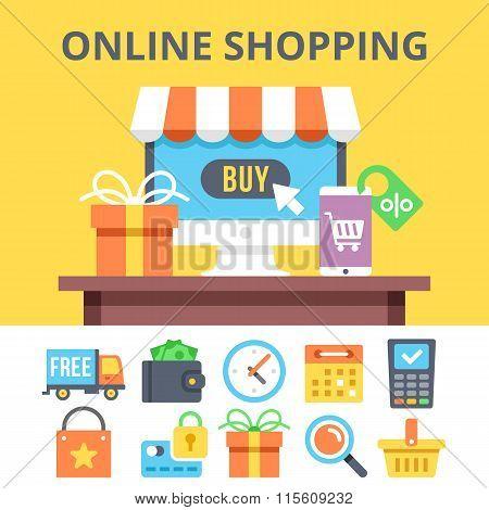 Online shopping flat illustration and ecommerce flat icons set
