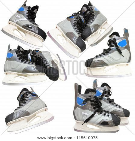 Collection Man's hockey skates. Isolated on white background.