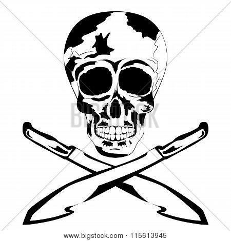 Black And White Human Skull With Machete. Tattoo Skull
