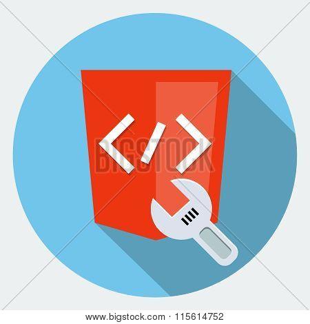 Code repair flat icon