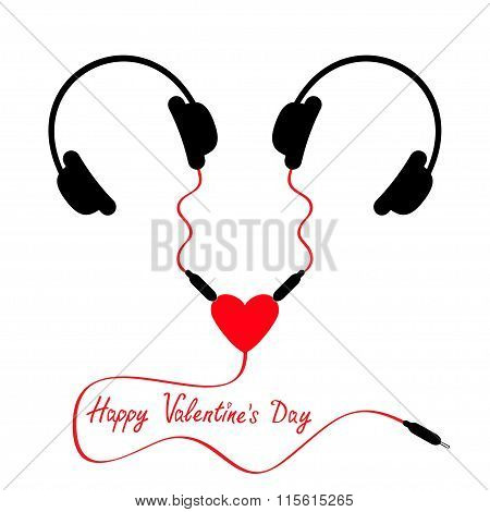 Happy Valentines Day. Two headphones. Earphones couple Audio splitter adapter heart. Red cord. Love greeting card. White background. Isolated. Flat design. Vector illustration poster