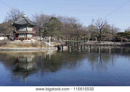 Gyeongbok Palace Lake And Reflective With Landmark Building Tourism In Korea