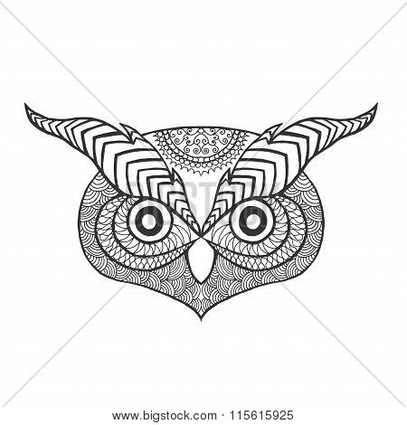 Eagle owl head. Adult antistress coloring page