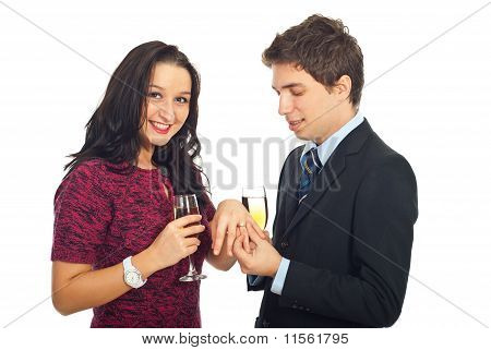 Man Offering Wedding Ring
