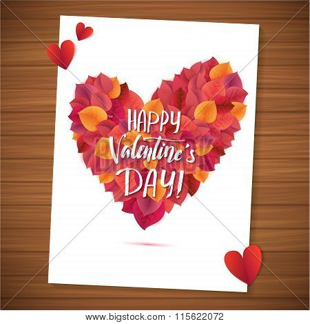 Happy Valentine's Day Red Lettering Background Greeting Card. Wood Planks Table