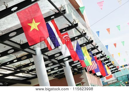 Flags of Southeast Asia countries AEC ASEAN Economic Community