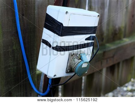 Damaged outdoor electrical supply unit.